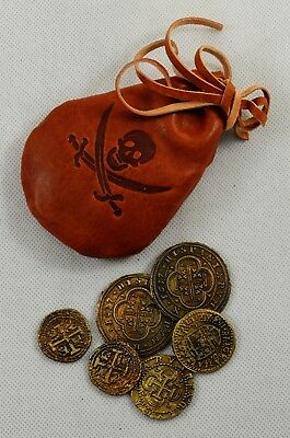 6 Spanish Armada Gold/Silver Doubloons & Leather Pouch Coins/Pirates/Treasure