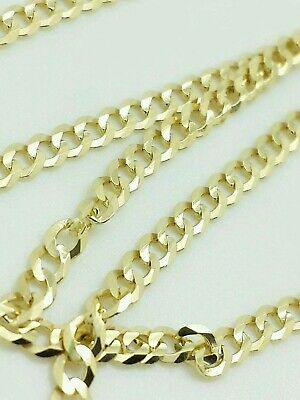 """14k Solid Yellow Gold Cuban Link Chain Necklace 16""""- 30"""" Men's Women All Sizes"""
