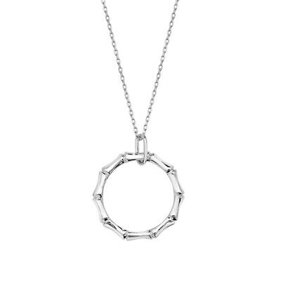 902dfa15b NiaYou Jewellery Sterling Silver 925 Circle Bamboo Pendant Necklace 18 inch