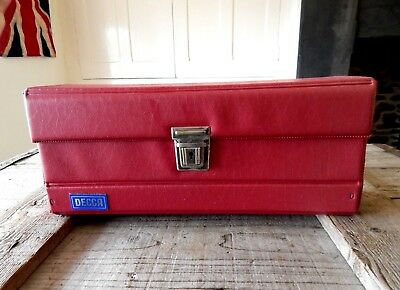 Vintage DECCA Retro Audio Cassette Tape Storage Box Case - Red