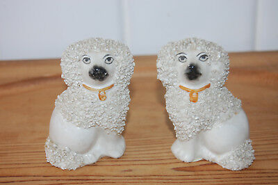Pair Of Antique Porcelan English Staffordshire  White Poodle Dog Figurines