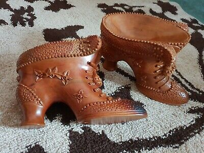 Antique Carved Wood Shoe Wood Boot