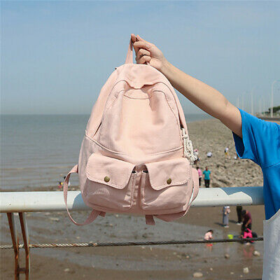 Female Shoulder Bag Out Pockets Large Size Teen Outdoor Backpack Canvas Bags 6A