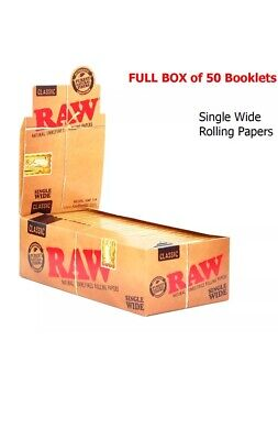 RAW Natural Unrefined Single Wide 70MM Standard Rolling Papers-50 BOOKLETS (BOX)