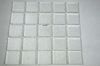 """25 THIN CLEAR 1 1/8"""" x 1 1/8"""" SQUARES OF BULLSEYE GLASS TOPPERS CAPS 90 COE"""