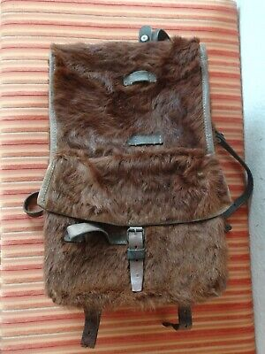 Fine 1939 Swiss Army Cowhide Leather Backpack Rucksack Military Fur RAR TOP