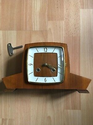 Vintage FHS Hermle 130-020 chime wind up wood Brass mantel shelf clock with key
