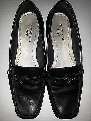 ba44b123cd2 ANNE KLEIN Casual Womens Flex Loafer Slip-On Black Shoes Size 9.5M Leather