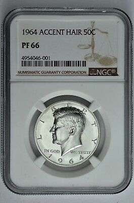 1964 Accent Hair 50c Silver Proof Kennedy Half Dollar NGC PF 66