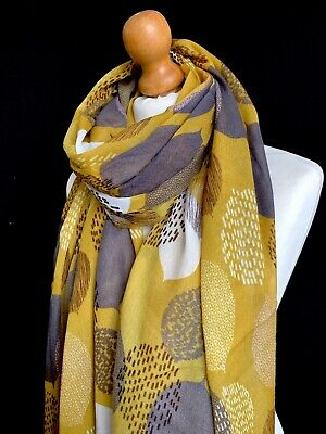 Mustard Yellow Grey Large Leaf Abstract Print Large Scarf Wrap Leaves  New  2019