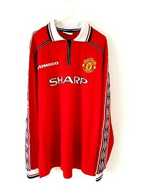 Manchester United Home Shirt 1998. XXL Umbro Red Adults Long Sleeves Man Utd Top