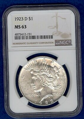 1923 - D Peace Silver Dollar NGC MS63