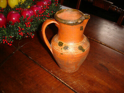 An Early Virginia Hand Thrown Small Slip Decorated Redware Pitcher, Gorgeous