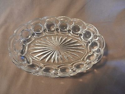 Vintage Glass Candy, Cracker Oval Serving Bowl Starburst Center Scallop Edges (M