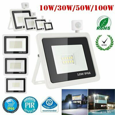 With/Without PIR Sensor LED Floodlight Garden Security Wall Lamp Cool White IP66