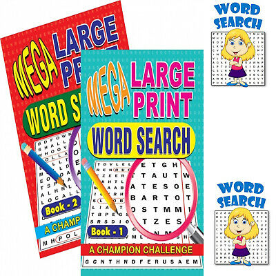 1&2 Word Search Puzzle Book Mega Large Print A4 Quiz Puzzles Pack Of 2