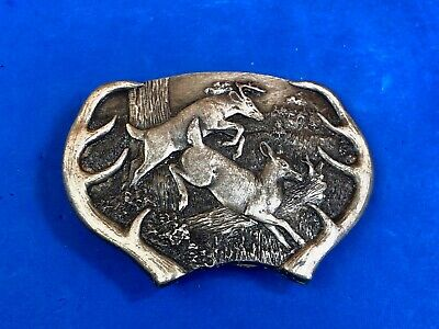 Vintage 1977 Bergamot Brass works jumping  Deer LARGE antlers belt buckle