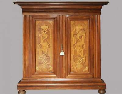 Rare German Baroque Armoire solid walnut with Marquetry inlaid date 1750
