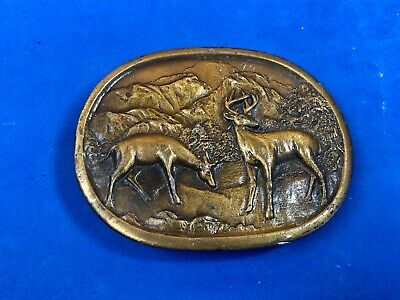 vintage two deer in nature belt buckle by Indiana metal craft