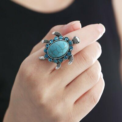 Fashion Sea Knuckle Ring Turtle Lover Turquoise Silver Women Jewelry Adjustable