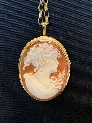 "Italian Hand-signed 18K Gold Cameo Shell Brooch/Pendant w/17"" 14K  Necklace"