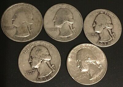 90% Silver Qty 5 - Silver Washington Quarters *FREE SHIPPING* $1.25 Face Value