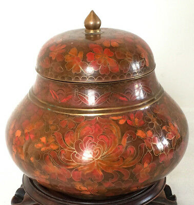 A RARE C20th Chinese Wide Gourd Shape Wide Cloisonne Ginger Jar with Lid