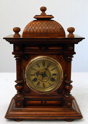 Antique 19th Century Junghans Walnut Mantle Bracket Clock with Key & Pendulum