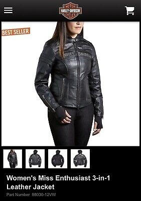 Harley Davidson 3-in-1 Miss Enthusiast leather jacket size 2W(22-24) NWT!