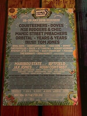 Kendal Calling 2019 Festival lineUp Flyer Tom Jones Courteeners Years & Years A5