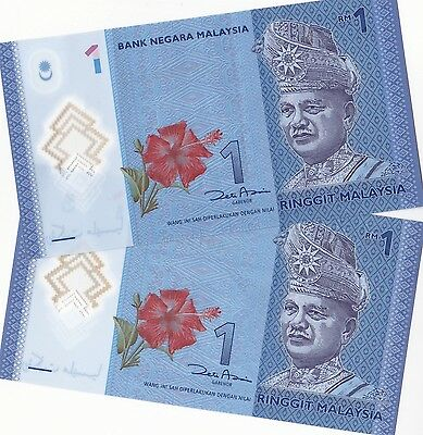 MALAYSIA 1 Ringgit  x 2 aUnc Cond (ND2012) GREAT BARGAIN!
