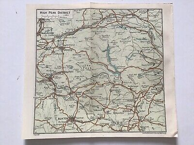 High Peak District, 1939 Vintage Map, England, Bartholomew, Atlas, Original