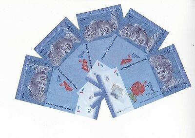 MALAYSIA 1 Ringgit  x 5 Unc Cond (ND2012) Consecutive Numbers GREAT BARGAIN!
