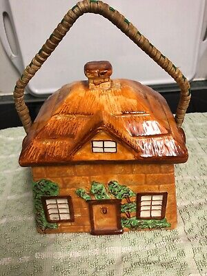 Westminster country cottage pottery biscuit barrel - Hanley Staffs