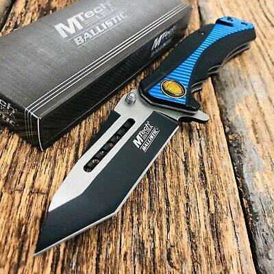 "8"" MTECH USA POLICE RESCUE SPRING ASSISTED TACTICAL FOLDING POCKET KNIFE Open u"