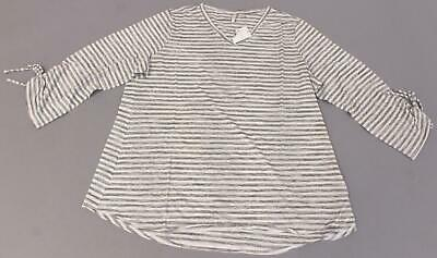 5f5d308b74479c Cato Women s V-Neck Plus Size Stripe Tie Sleeve Top SD8 Gray Size 18
