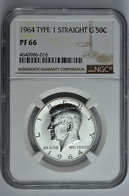 1964 Type 1 Straight G 50c Silver Proof Kennedy Half Dollar NGC PF 66