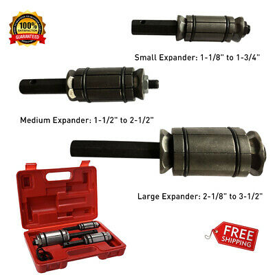 """3pcs Tail Pipe Expander Set Exhaust Muffler Spreader Tool 1-1/18"""" To 3-1/2""""+Case"""