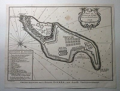 Original 18th Century Map or Plan of The Fortified Island of Goree, Isle De Gore
