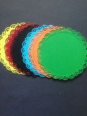 6 Coloured Fancy Circle Mat diecuts -  Great for scrapbooking/cardmaking