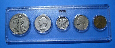 1938 US Coin Year Set 5 Coins 90% Silver