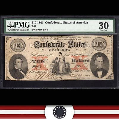 T-26 1861 $10 Confederate Currency Pmg 30 *civil War Money*  59116