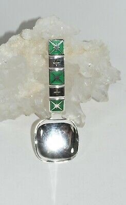 925S OSLO NORWAY N.M.THUNE COMPANY Sterling Silver Green Enamel Star Spoon