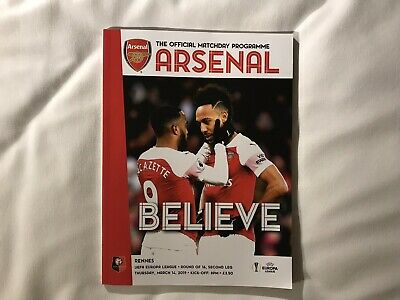 Arsenal v Rennes Europa League 14 March 2019 Mint Free Post