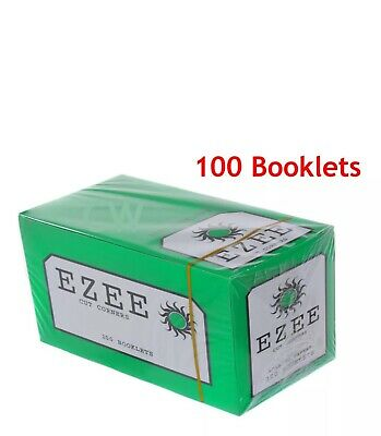 Ezee Green Tobacco Rolling Papers Cut Corners - FULL BOX 100 BOOKLETS