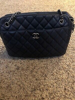 CHANEL NAVY BLUE Quilted Lambskin Leather Large Trendy CC Bowling ... 9ebc48f2b9370