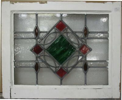 "OLD ENGLISH LEADED STAINED GLASS WINDOW Stunning Geometric Design 20.5"" x 16.75"""