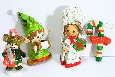 Christmas Holiday/Figures/Ornaments/Paper Mache/Candy Cane/Mouse/Girl/Elf/Vtg/ 4
