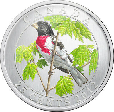 2012 CANADA 25 Cent Colored Coin - Rose-Breasted Grosbeak