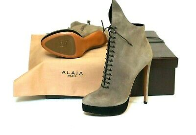 5512a3902b4f6 NEW ALAIA Grey Suede Platform Lace-up Stiletto Boots Size 9.5 40  1870.00 w